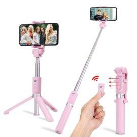 Ntech Ntech 3 in 1 Bluetooth Selfie Stick met Afstandsbediening en Foldable Tripod Stand - Roze