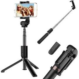 Ntech Ntech 3 in 1 Selfie Stick met Afstandsbediening en Foldable Tripod Stand Samsung Galaxy S10/S10+/S10e A50/A70/A40/A30/A7(2018) - Zwart