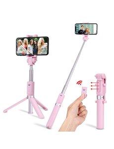 Ntech Ntech 3 in 1 Selfie Stick met Afstandsbediening en Foldable Tripod Stand Samsung Galaxy S10/S10+/S10e A50/A70/A70s/A40/A30/A7(2018) - Roze