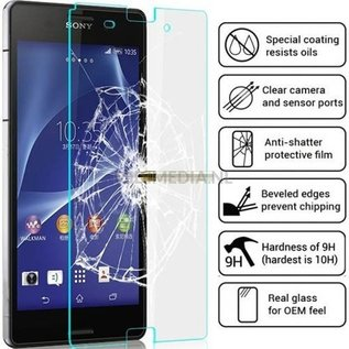 Merkloos 2 pack - Sony Xperia Z3 glazen Screen protector Tempered Glass 2.5D 9H (0.3mm)