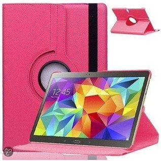 Merkloos Samsung Galaxy Tab S 10.5 inch T800 / T805 Tablet Hoes Cover 360 graden draaibare Case Beschermhoes Pink