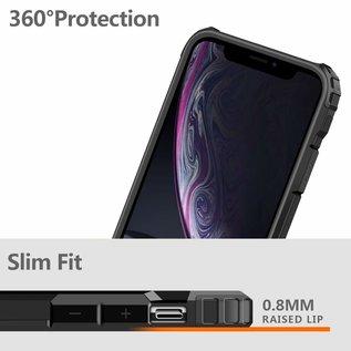 Ntech Ntech iPhone X / Xs Dual layer Rugged Armor hoesje /  Hard PC & TPU Hybrid case - Zwart