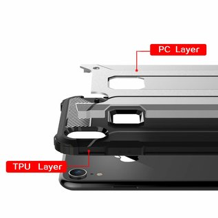Ntech Ntech iPhone X / Xs Dual layer Rugged Armor hoesje /  Hard PC & TPU Hybrid case - Zilver