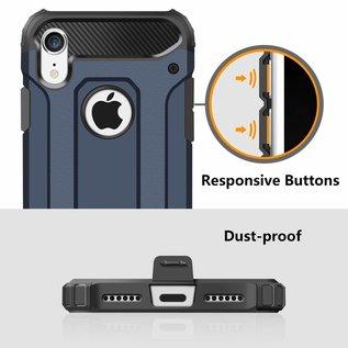 Ntech Ntech iPhone X / Xs Dual layer Rugged Armor hoesje /  Hard PC & TPU Hybrid case - Blauw