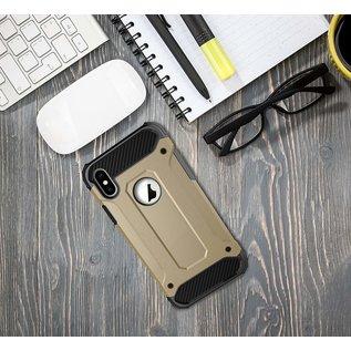 Ntech Ntech iPhone X / Xs Dual layer Rugged Armor hoesje /  Hard PC & TPU Hybrid case - Goud