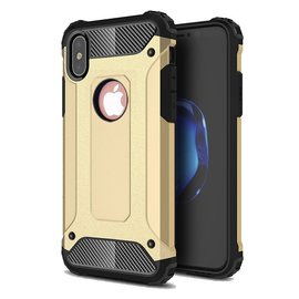 Ntech Ntech iPhone Xr Dual layer Rugged Armor hoesje /  Hard PC & TPU Hybrid case - Goud