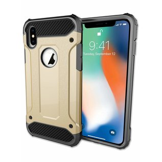 Ntech Ntech iPhone Xr Dual layer Rugged Armor hoesje /  Hard PC & TPU Hybrid case - Goud