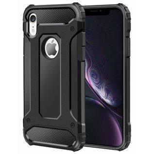 Ntech Ntech iPhone Xr Dual layer Rugged Armor hoesje /  Hard PC & TPU Hybrid case - Zwart