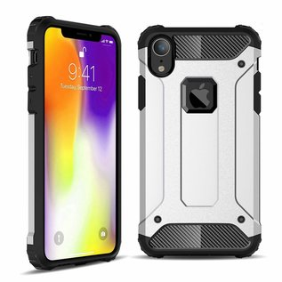Ntech Ntech iPhone Xr Dual layer Rugged Armor hoesje /  Hard PC & TPU Hybrid case - Zilver