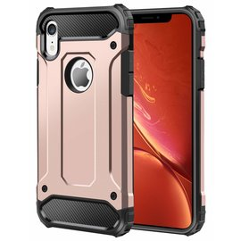 Ntech Ntech iPhone Xr Dual layer Rugged Armor hoesje /  Hard PC & TPU Hybrid case - Rose Goud