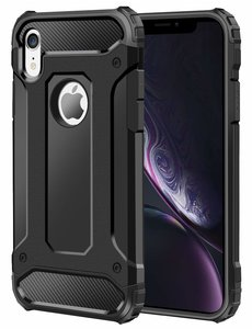 Ntech Ntech iPhone Xs Max Dual layer Rugged Armor hoesje - Zwart