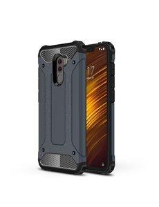 Ntech Ntech Xiaomi Pocophone F1 Dual layer Rugged Armor hoesje - Blauw