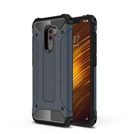 Ntech Ntech Xiaomi Pocophone F1 Dual layer Rugged Armor hoesje / Hard PC & TPU Hybrid case - Blauw