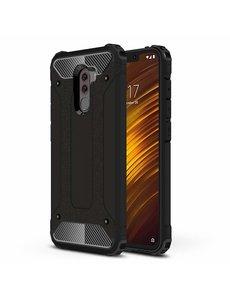 Ntech Ntech Xiaomi Pocophone F1 Dual layer Rugged Armor hoesje - Zwart