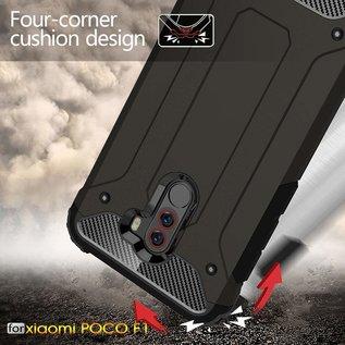 Ntech Ntech Xiaomi Pocophone F1 Dual layer Rugged Armor hoesje / Hard PC & TPU Hybrid case - Zwart