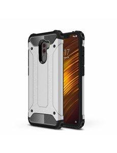 Ntech Ntech Xiaomi Pocophone F1 Dual layer Rugged Armor hoesje - Zilver