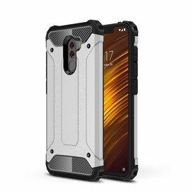 Ntech Ntech Xiaomi Pocophone F1 Dual layer Rugged Armor hoesje / Hard PC & TPU Hybrid case - Zilver