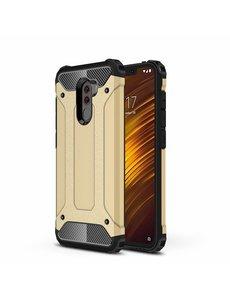Ntech Ntech Xiaomi Pocophone F1 Dual layer Rugged Armor hoesje - Goud