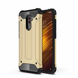 Ntech Ntech Xiaomi Pocophone F1 Dual layer Rugged Armor hoesje / Hard PC & TPU Hybrid case - Goud