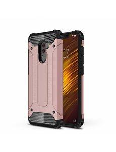 Ntech Ntech Xiaomi Pocophone F1 Dual layer Rugged Armor hoesje - Rose Goud