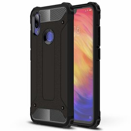 Ntech Ntech Xiaomi Redmi Note 7 Dual layer Rugged Armor hoesje / Hard PC & TPU Hybrid case - Zwart