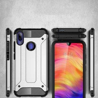 Ntech Ntech Xiaomi Redmi Note 7 Dual layer Rugged Armor hoesje / Hard PC & TPU Hybrid case - Zwart