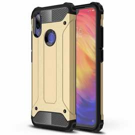 Ntech Ntech Xiaomi Redmi Note 7 Dual layer Rugged Armor hoesje / Hard PC & TPU Hybrid case - Goud