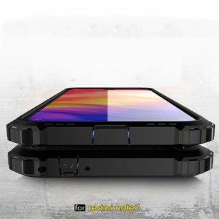 Ntech Ntech Xiaomi Redmi Note 7 Dual layer Rugged Armor hoesje / Hard PC & TPU Hybrid case - Goud