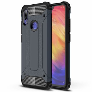 Ntech Ntech Xiaomi Note 7 Dual layer Rugged Armor hoesje / Hard PC & TPU Hybrid case - Blauw