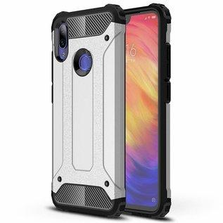 Ntech Ntech Xiaomi Note 7 Dual layer Rugged Armor hoesje / Hard PC & TPU Hybrid case - Zilver