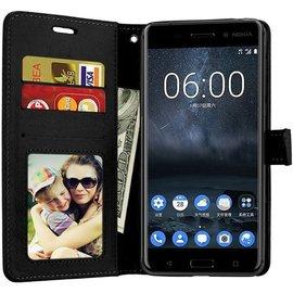 Merkloos Nokia 3.1 portemonnee hoesje - Zwart