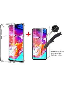 Ntech Ntech Samsung Galaxy A70/A70s Anti Shock Back hoesje + Glazen Screenprotector
