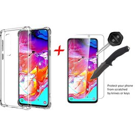 Ntech Ntech Samsung Galaxy A70 Transparent Anti Burst Hoesje / Shock Proof Crystal Clear TPU Case + Tempered glass screen protector