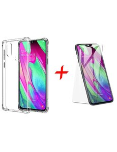 Ntech Ntech Samsung Galaxy A40 Anti Shock Back hoesje + Glazen Screenprotector