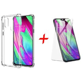 Ntech Ntech Samsung Galaxy A40 Transparent Anti Burst Hoesje / Shock Proof Crystal Clear TPU Case + Tempered glass screen protector