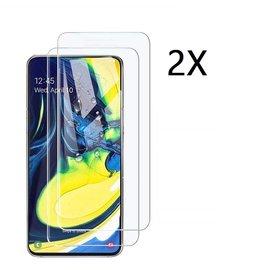 Ntech Ntech 2 Stuks Screenprotector Tempered Glass Glazen Gehard Screen Protector 2.5D 9H (0.3mm) - Samsung Galaxy A80