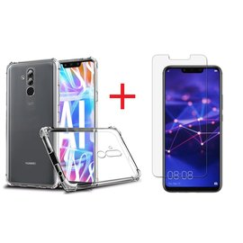 Ntech Ntech Huawei Mate 20 Lite Transparent Anti Burst Hoesje / Shock Proof Crystal Clear TPU Case + Tempered glass screen protector