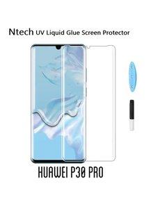Merkloos Ntech Huawei P30 Pro UV liquid Curved Tempered Glass full cover met UV lampje