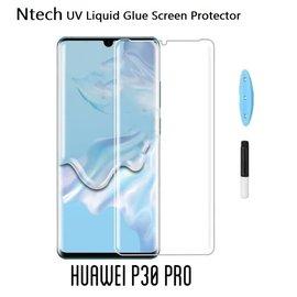 Merkloos Ntech Huawei P30 Pro UV liquid Curved Tempered Glass 9H full cover met UV lampje