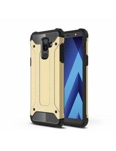 Ntech Ntech Samsung Galaxy A6 Plus (2018) Dual layer Armor Hoesje - Goud