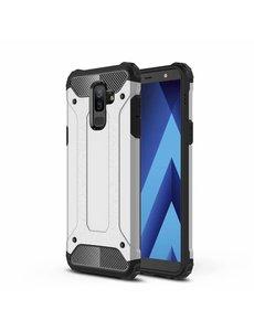 Ntech Ntech Samsung Galaxy A6 Plus (2018) Dual layer Armor Hoesje - Zilver