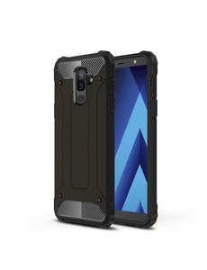 Ntech Ntech Samsung Galaxy A6 Plus (2018) Dual layer Armor Hoesje - Zwart