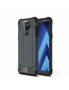 Ntech Ntech Samsung Galaxy A6 Plus (2018) Dual layer Armor Hoesje - Blauw