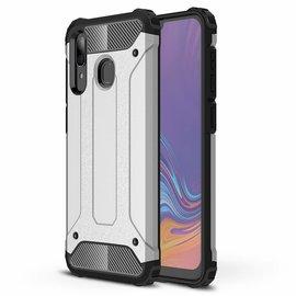 Ntech Ntech Samsung Galaxy A30 Dual layer Rugged Armor hoesje /  Hard PC & TPU Hybrid case - Zilver