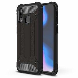Ntech Ntech Samsung Galaxy A40 Dual layer Rugged Armor hoesje /  Hard PC & TPU Hybrid case - Zwart