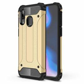 Ntech Ntech Samsung Galaxy A40 Dual layer Rugged Armor hoesje /  Hard PC & TPU Hybrid case - Goud