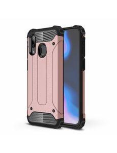 Ntech Ntech Samsung Galaxy A40 Hybride Armor Hoesje - Rose Goud