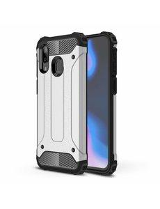 Ntech Ntech Samsung Galaxy A40 Hybride Armor Hoesje - Zilver