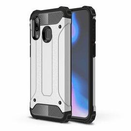 Ntech Ntech Samsung Galaxy A40 Dual layer Rugged Armor hoesje /  Hard PC & TPU Hybrid case - Zilver