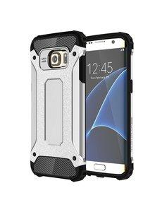 Ntech Ntech Samsung Galaxy S7 Edge Dual layer Rugged Armor Hoesje - Zilver